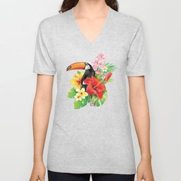 Tropical Toucan Collage Unisex V-Neck
