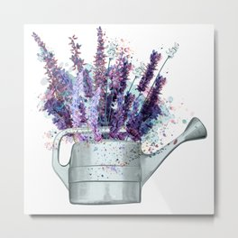 Vintage vector illustration with lavender flowers watercolor French style Metal Print