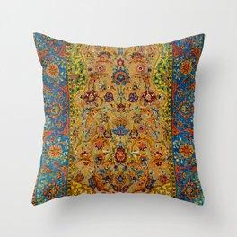 Hereke Vintage Persian Silk Rug Print Throw Pillow