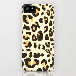 Trendy brown black abstract jaguar animal print iPhone Case
