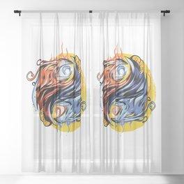Phoenix Yin and Yang Sheer Curtain