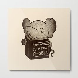 Elephant Overcoming Your Mice Phobia Metal Print