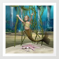 the little mermaid Art Prints featuring Little Mermaid by Design Windmill