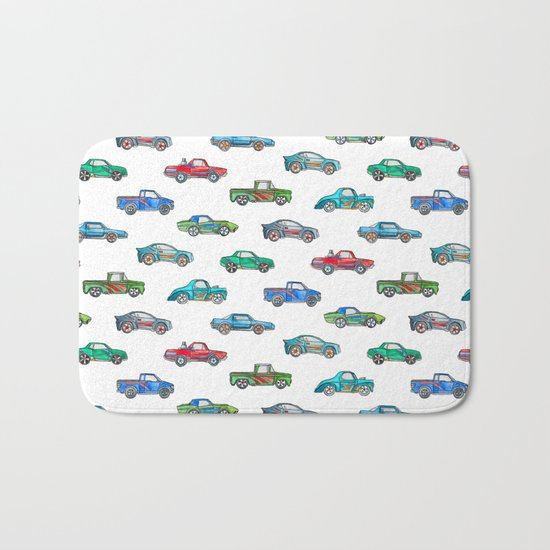 Little Toy Cars in Watercolor on White Bath Mat