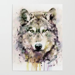 Wolf Head Watercolor Portrait Poster