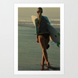 Wave Series Photograph No. 30 - Female Surfer at Sunset Art Print