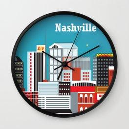 Nashville, Tennessee - Skyline Illustration by Loose Petals Wall Clock