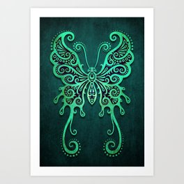 Intricate Teal Blue Vintage Tribal Butterfly Art Print