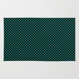 Black and Dynasty Green Polka Dots Rug