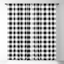 Red Heart on Black Buffalo Check Blackout Curtain