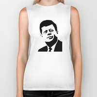 jfk Biker Tanks featuring JFK Poster by Steve Lovelace