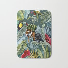Jungle with tiger and tucan Bath Mat