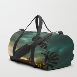 Pure Oklahoma - Windmill, Truck and Storm on Great Plains Duffle Bag