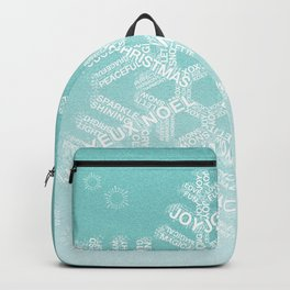 Typographic Snowfake Greetings - Ombre Teal Backpack