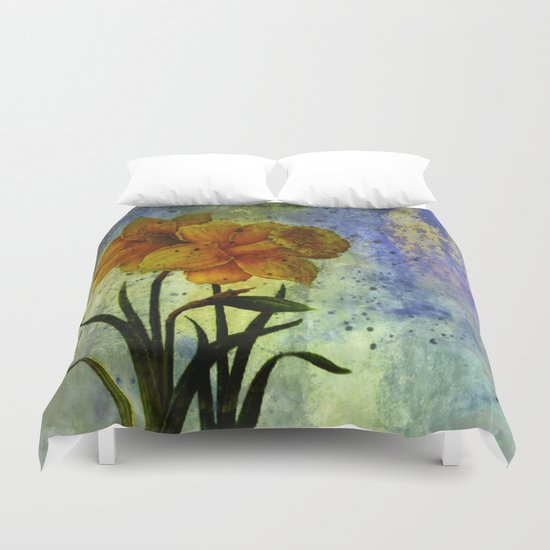 daffodil and textures Duvet Cover