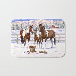 Bay Pinto Paint Horses In Snow Bath Mat