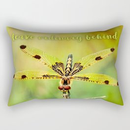 Dragonfly ~ Quote Leave Ordinary Behind ~ Ginkelmier Inspired Rectangular Pillow