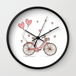 Retro vintage bicycle print with heart shaped balloons Wall Clock