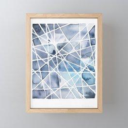 Watercolour Facets #1 Indigo Framed Mini Art Print