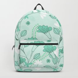 Vintage flowers in a green background Backpack