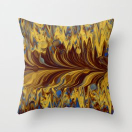 Electric-Blue, Brown, and Gold Abstract Throw Pillow