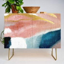 Exhale: a pretty, minimal, acrylic piece in pinks, blues, and gold Credenza