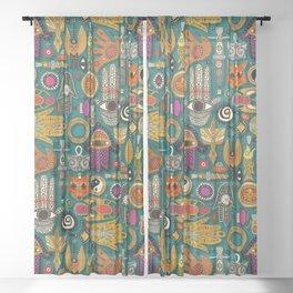 TALISMANS viridian green Sheer Curtain