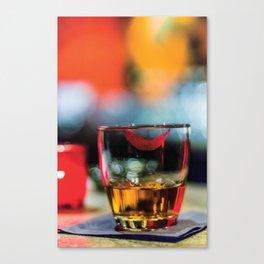 Lipstick Whiskey Neat Canvas Print