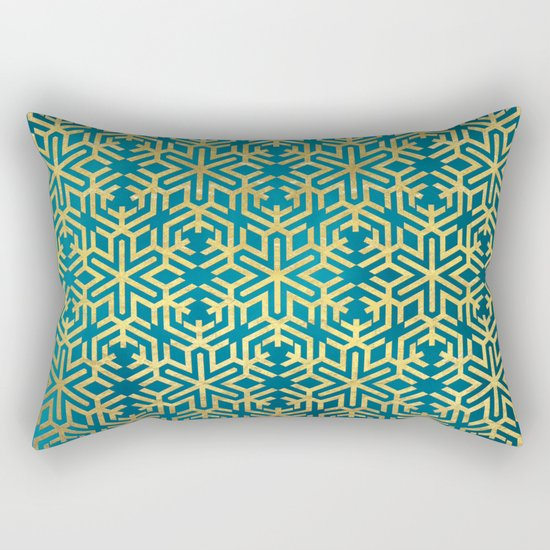 Turquoise and Gold Snowflake Pattern Rectangular Pillow
