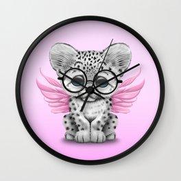 Snow Leopard Cub Fairy Wearing Glasses on Pink Wall Clock