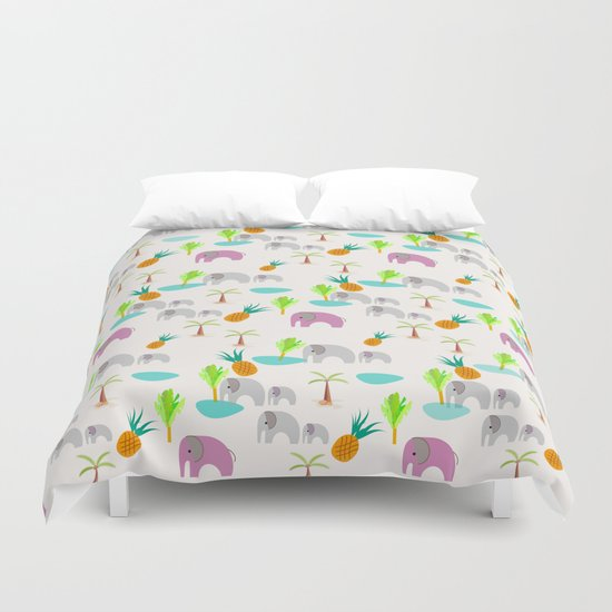 Pink Elephants Duvet Cover