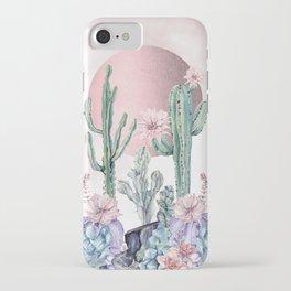 Desert Sun + Gemstones Rose Gold Pink Watercolor iPhone Case