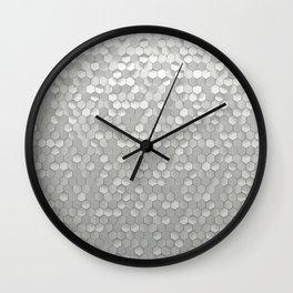 White hexagons Wall Clock