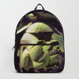Vintage photograph of butchers knife and artichoke still life Backpack