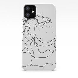 Minimal Line Art Ocean Waves iPhone Case