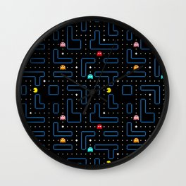 Pacman Retro Arcade Gaming Pattern Wall Clock