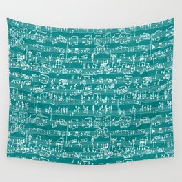 Hand Written Sheet Music // Teal Wall Tapestry