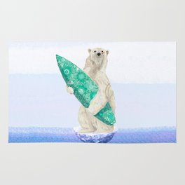 Polar bear & Surf (green) Rug