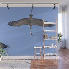 Common Crane in flight blue skies (Grus grus) migration Wall Mural