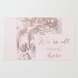 Alice in the rose gold - We're all mad here Rug