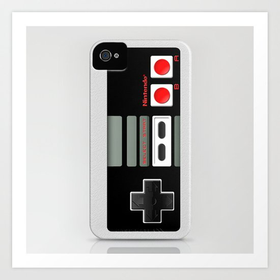 Classic retro Nintendo game controller iPhone 4 4s 5 5c, ipod, ipad, tshirt, mugs and pillow case Art Print