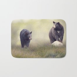Two Black bears in the grass near water Bath Mat