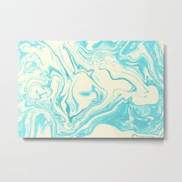 Funky Swirling Colors in Turquoise and Cream Metal Print