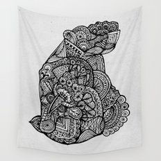 Sitting Hippo Doodle Wall Tapestry