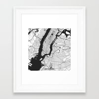 new york map Framed Art Prints featuring New York Map Gray by City Art Posters