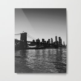 Nighttime NYC Skyline - Brooklyn Bridge Metal Print