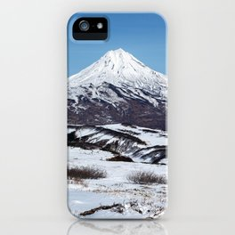 Panoramic winter mountainous landscape: snowy cone of volcano iPhone Case