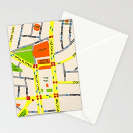 Tel Aviv map design - written in Hebrew Stationery Cards