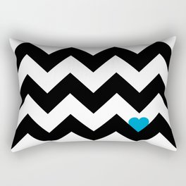 Heart & Chevron - Black/Blue Rectangular Pillow