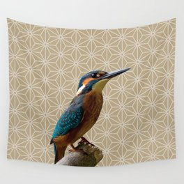 Kingfisher Montage (Warm Sand) Wall Tapestry